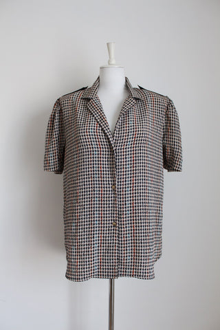 VINTAGE HOUNDSTOOTH PRINT BLOUSE - SIZE 14