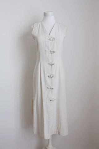 VINTAGE JEAN MARC PHILIPPE DESIGNER LINEN DRESS - SIZE 6