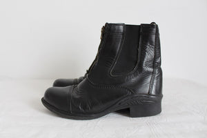 GENUINE LEATHER VINTAGE BLACK ANKLE BOOTS - SIZE 4