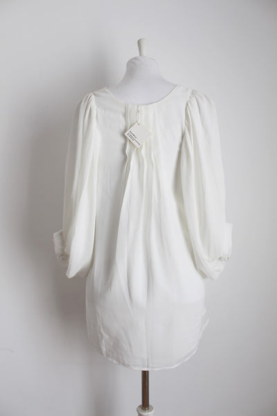 WHITE FLARED SLEEVES PLEATED TUNIC TOP - SIZE 10
