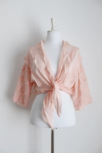 VINTAGE PINK PLEATED RUFFLE CROP TIE FRONT TOP - SIZE L