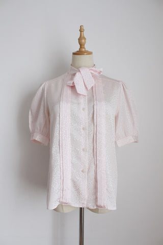 VINTAGE LIGHT PINK PUSSYBOW TIE BLOUSE - SIZE 8