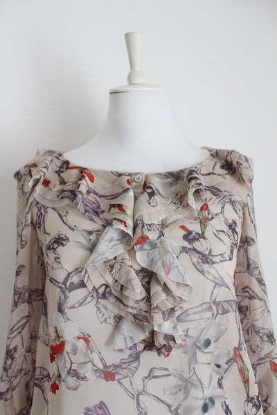 TED BAKER LONDON DESIGNER PRINTED RUFFLE BLOUSE - SIZE 8