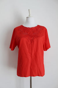 VINTAGE RED CUT-OUT EMBROIDERY BLOUSE - SIZE 18