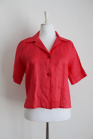 RASPBERRY RED LINEN 3/4 SLEEVE SHIRT - SIZE 16