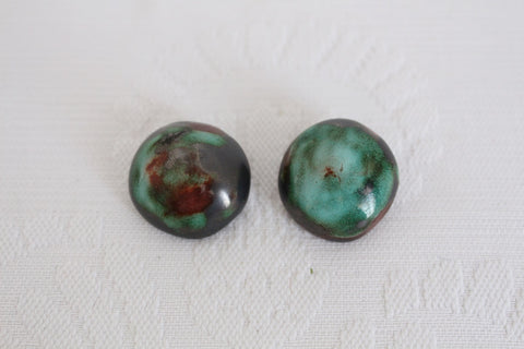 VINTAGE GREEN GLAZED CERAMIC CLIP-ON EARRINGS