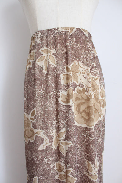 Y2K BROWN FLORAL PRINT STRETCH SKIRT - SIZE 16