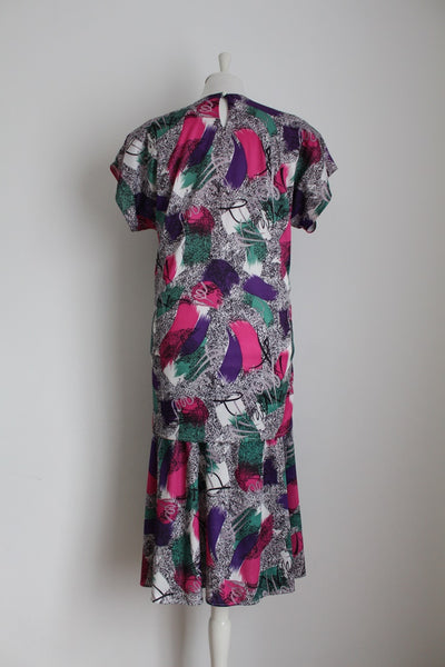 VINTAGE ABSTRACT PRINT DROP WAIST DRESS - SIZE 14