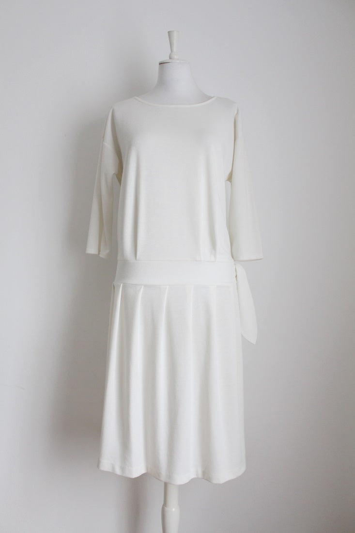 VINTAGE WHITE DROP WAIST TIE 3/4 SLEEVE DRESS - SIZE 12