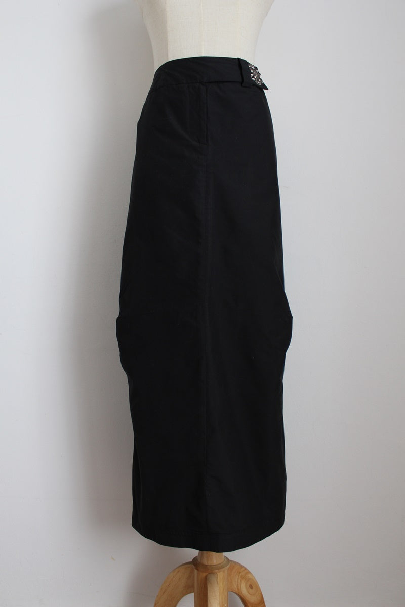 AIRFIELD BLACK RUCHED ZIP SIDE SKIRT - SIZE 14