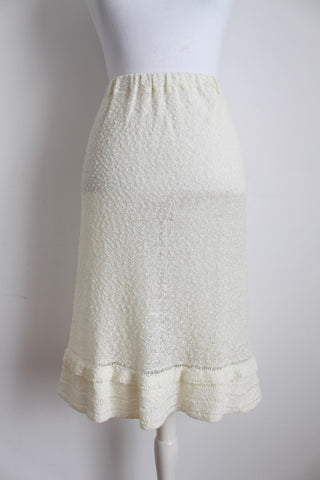 VINTAGE CROCHET KNIT CREAM SKIRT - SIZE L