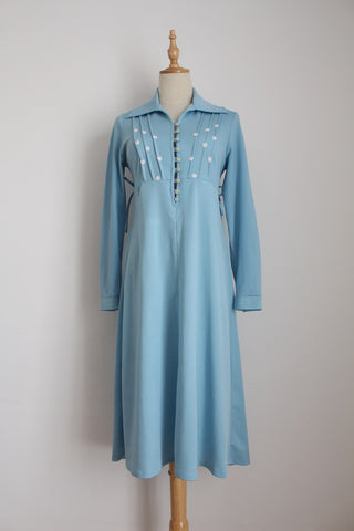 VINTAGE BLUE DAISY LONG SLEEVE DRESS - SIZE 10
