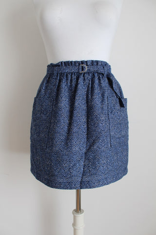 PEPE JEANS LONDON BLUE BELTED SKIRT - SIZE 10