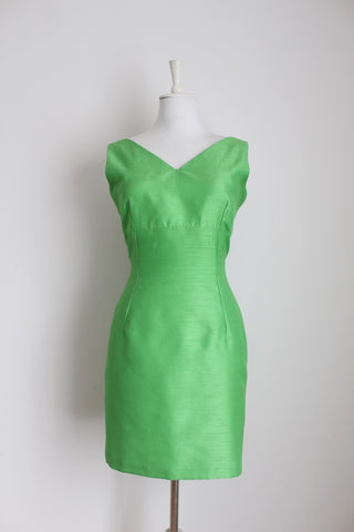 VINTAGE FITTED LIME GREEN COCKTAIL DRESS - SIZE 10