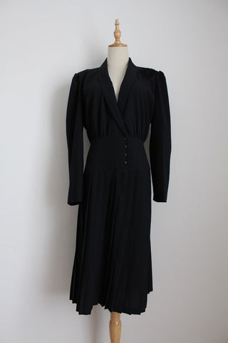 VINTAGE BLACK PLEATED DROP WAIST DRESS - SIZE 12