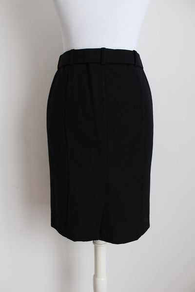 PENNYBLACK WOOL BLACK BELTED FITTED PENCIL SKIRT - SIZE 8