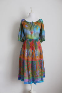 VINTAGE PLEATED MULTICOLOUR PRINTED DRESS - SIZE 14