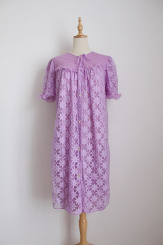 VINTAGE LILAC LACE NYLON NIGHTIE - SIZE M