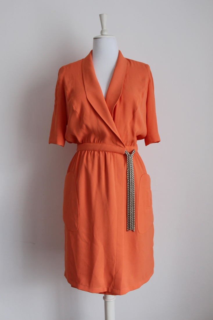 *THIERRY MUGLER* DESIGNER VINTAGE ORANGE WRAP DRESS - SIZE 12