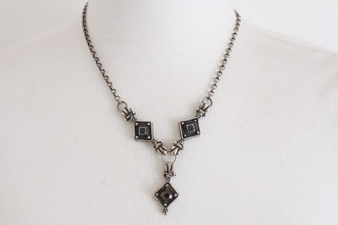 STERLING SILVER VINTAGE GEOMETRIC DECO CHAIN NECKLACE