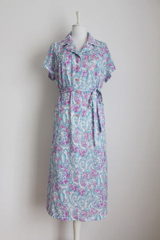 VINTAGE FLORAL BLUE WHITE TIE WAIST DRESS - SIZE 20