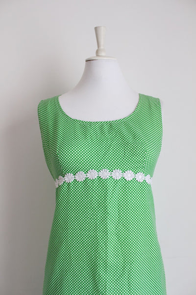 VINTAGE GREEN POLKA DOT SHIFT DRESS - SIZE 8