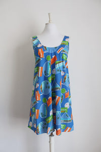 VINTAGE HAWAIIAN PRINT COTTON SUN DRESS - SIZE 16