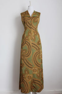 VINTAGE GOLD GREEN PRINTED MAXI DRESS - SIZE 12
