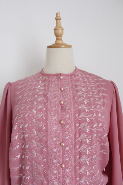 VINTAGE PINK EMBROIDERY TWO PIECE SET - SIZE 8