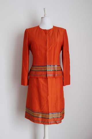 *ALAIN MANOUKIAN* DESIGNER ORANGE TWO PIECE DRESS JACKET SUIT - SIZE 12