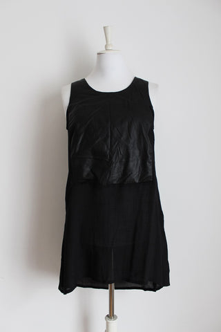 BROADWAY NEW YORK BLACK FAUX LEATHER ASYMMETRICAL DRESS - SIZE M