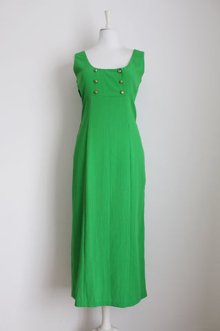 VINTAGE GREEN DOUBLE BREASTED DAY DRESS - SIZE 10