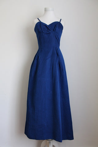 VINTAGE ROYAL BLUE RIBBED EVENING DRESS - SIZE 8