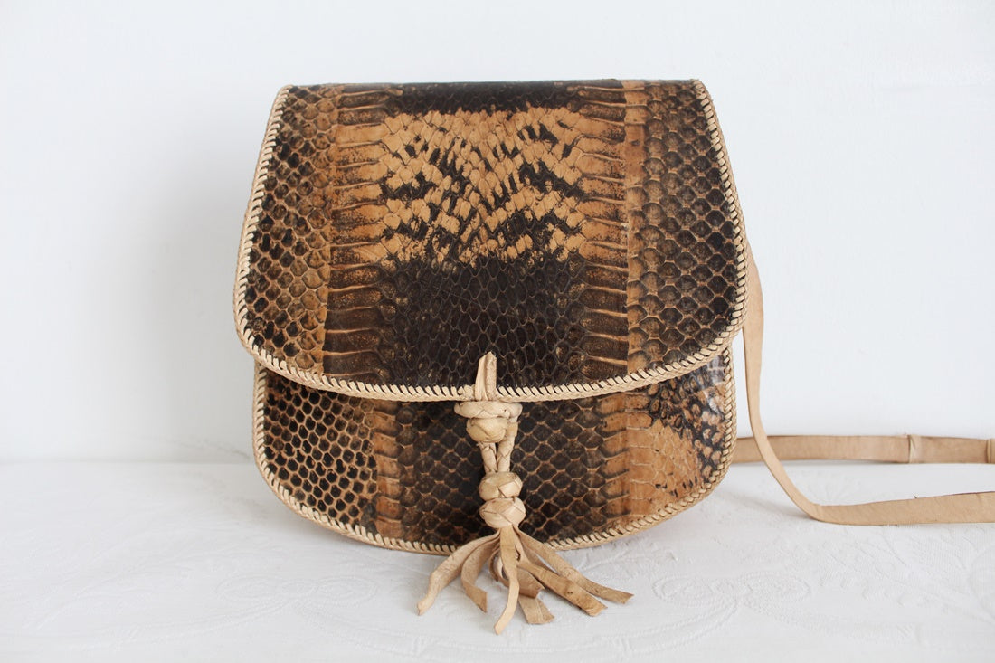 GENUINE SNAKE SKIN VINTAGE MESSENGER SLING BAG