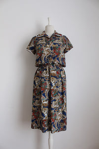 VINTAGE PAISLEY FLORAL PRINT BROWN BLUE DAY DRESS - SIZE 12