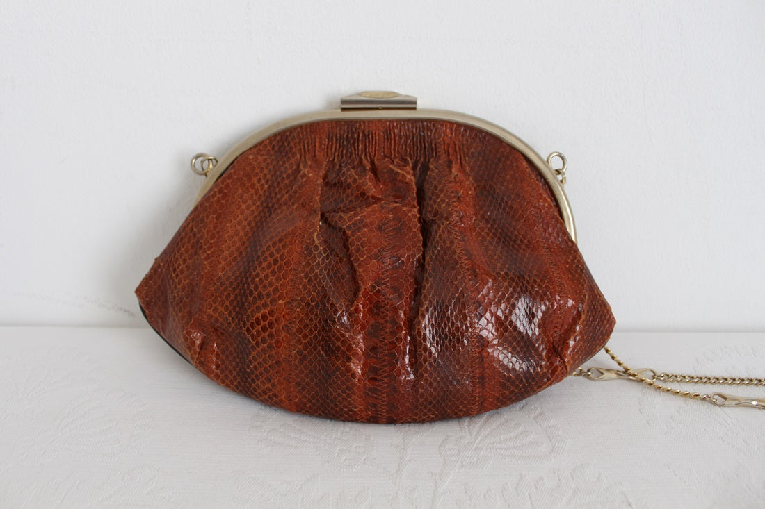 GENUINE SNAKE SKIN VINTAGE BROWN EVENING BAG