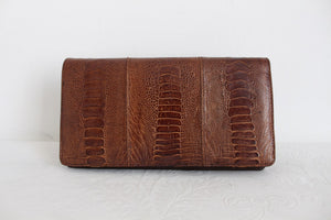 GENUINE OSTRICH SKIN SHIN BROWN CLUTCH BAG
