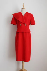 VINTAGE RED ASYMMETRICAL JACKET SKIRT SET - SIZE 10