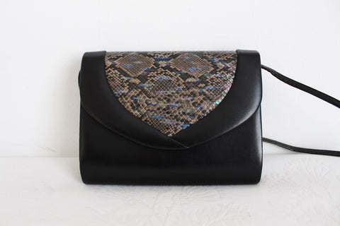 FAUX SNAKE SKIN BLACK SHOULDER BAG