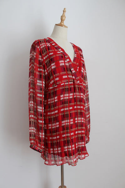 ESPRIT MATERNITY RED PRINTED TUNIC TOP - SIZE XL
