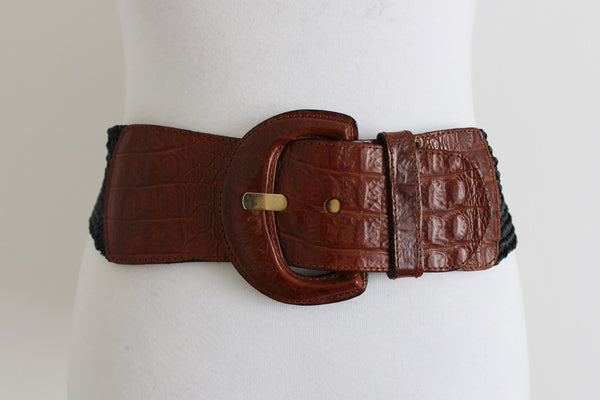 VINTAGE GENUINE LEATHER CROC STRAW BELT