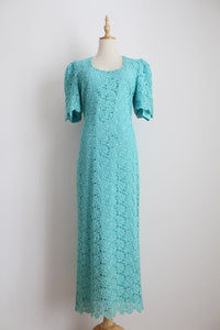 VINTAGE AQUA BLUE LACE FORMAL DRESS - SIZE 12