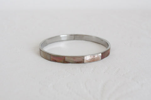 VINTAGE MOTHER OF PEARL INLAY SILVER TONE BANGLE