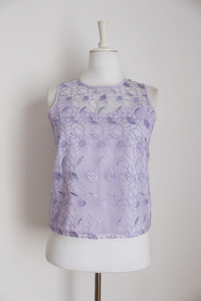 VINTAGE LILAC LACE SLEEVELESS BLOUSE - SIZE 10
