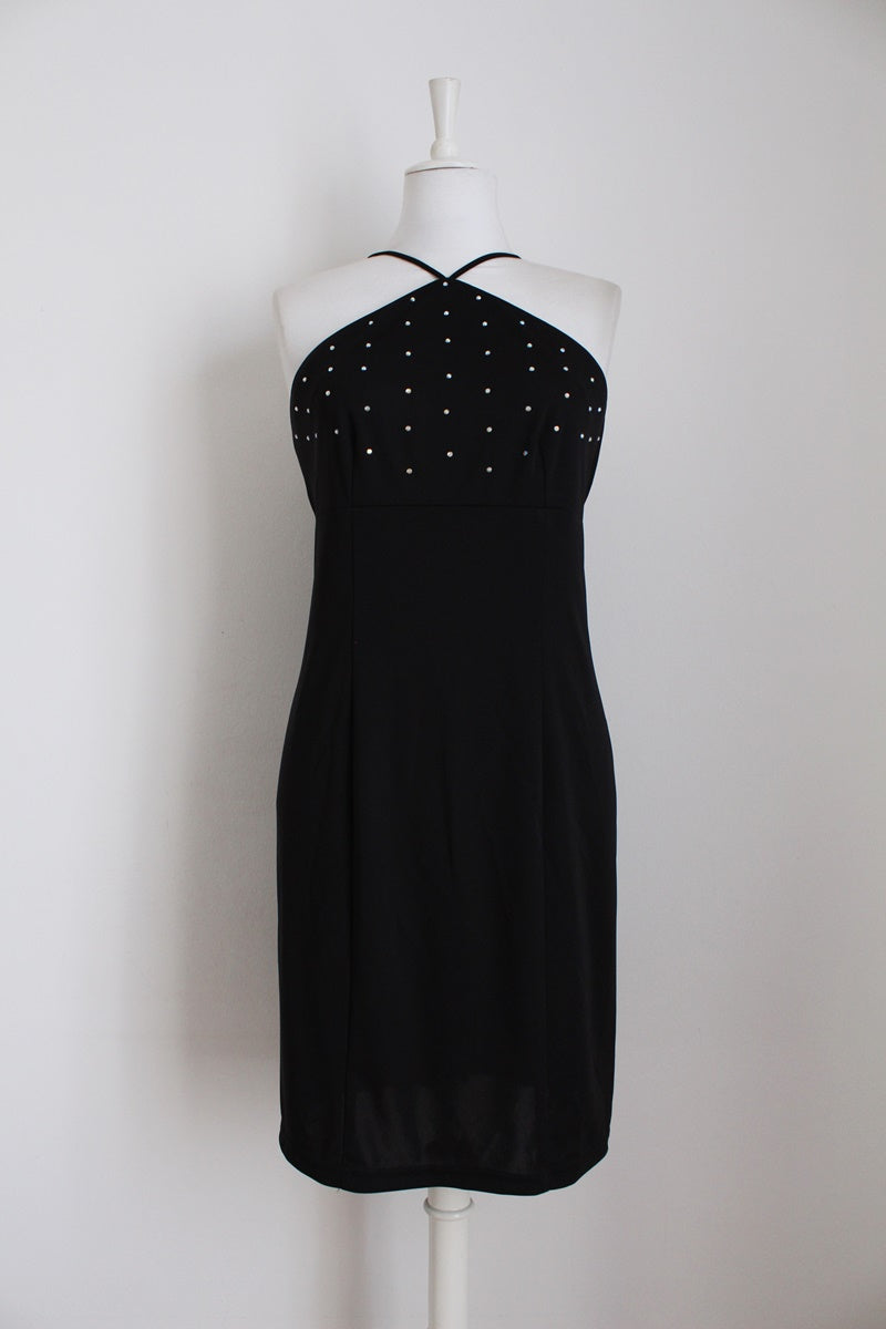 VINTAGE BLACK RHINESTONE HALTER NECK DRESS - SIZE 12