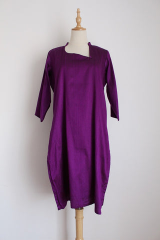 100% SILK VINTAGE PURPLE KAFTAN TUNIC - SIZE 12