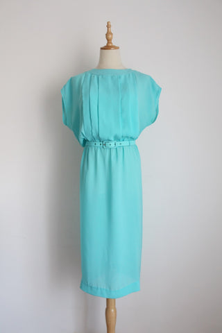 VINTAGE SKY BLUE PLEATED BELTED DRESS - SIZE 12