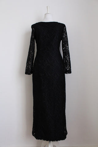 VINTAGE BLACK LACE OVERLAY CRISS CROSS DRESS - SIZE 12