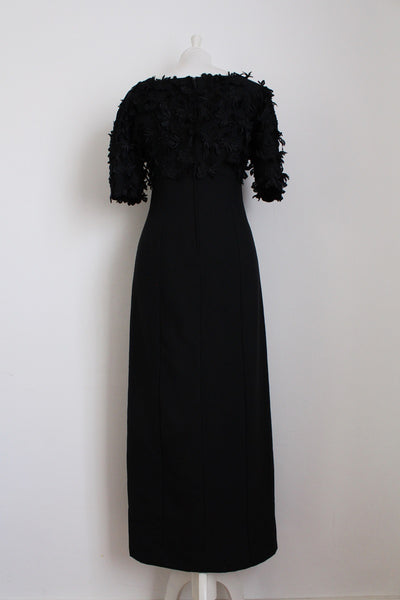 VINTAGE BLACK FLOWER APPLIQUE DRESS - SIZE 6