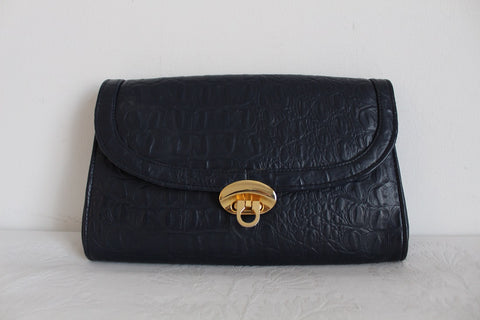 VINTAGE FAUX CROCODILE BLUE CLUTCH BAG